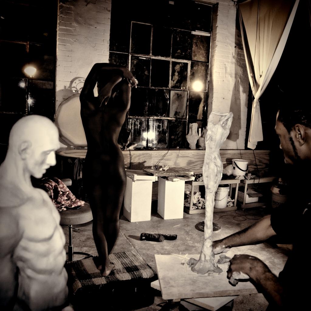 Model Shia J and sculptor Austen Brantley